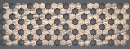 3D rendering of hexagon wall panels, Material black plastic with old wood for your project or interior design decorative tile. High quality seamless realistic royalty free illustration