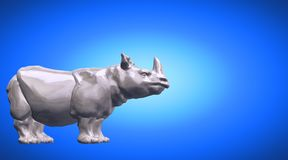 3d rendering of a hippo reflective on a blue gradient background. 3d rendering of a reflective on a background Royalty Free Stock Photography