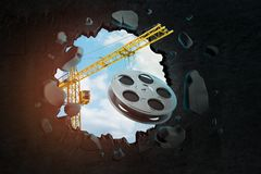 3d rendering of hoisting crane carrying film reel and breaking black wall leaving hole in it with blue sky seen through. Hole. Filming process. Invest in film vector illustration