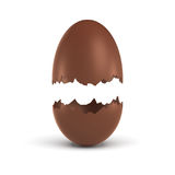3d rendering of a hollow chocolate egg broken in half at the middle with both parts hanging above each other. Royalty Free Stock Images