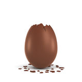 3d rendering of a hollow chocolate egg with a broken off pointy top and small pieces of the shell lying on white Royalty Free Stock Images