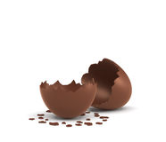 3d rendering of a hollow chocolate egg cracked in half on white background. Stock Images