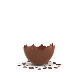 3d rendering of a hollow chocolate egg cracked in half on white background. Stock Photos