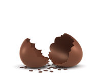 3d rendering of a hollow chocolate egg cracked in half on white background. Stock Photo