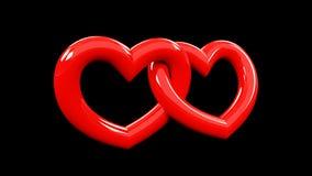 3d rendering holowniczy czerwony serce dołączający each inny ilustracji