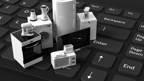 3d rendering home appliances on a keyboard Stock Photo