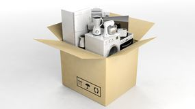3d rendering home appliances in a moving box Stock Photos