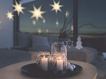 3d rendering. home with christmastree in modern apartment. 2. advent. 2. advent decoration in an christmas interior. 3d rendering Stock Images