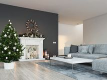 3d rendering. home with fireplace in modern apartment. christmas decoration. Living room with fireplace in modern loft apartment. 3d rendering Stock Photos