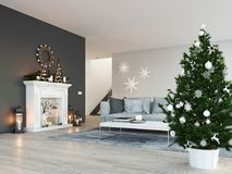 3d rendering. home with fireplace in modern apartment. christmas decoration. Living room with fireplace in modern loft apartment. 3d rendering Stock Photo