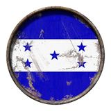 Old Honduras flag. 3d rendering of a Honduras flag over a rusty metallic plate. Isolated on white background Royalty Free Stock Photo