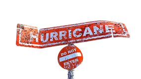 3D rendering of horizontal damaged hurricane board on a pole. With circular do not enter board on a cloudy background royalty free illustration