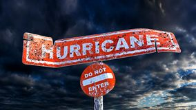 3D rendering of horizontal damaged hurricane board on a pole on a cloudy background. 3D rendering of horizontal damaged hurricane board on a pole with circular royalty free illustration
