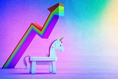 3d illustration of white toy unicorn and financial graph on colorful floor with rainbow background. 3d rendering of horse and arrow in startup business success Stock Photography