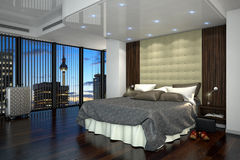 3d rendering - hotel room - bedroom. 3d rendering - hotel room with a kingsize bed - bedroom Royalty Free Stock Photo