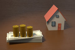 3D rendering of a house and bunch of money. On a wooden table Stock Photography