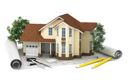 3D rendering of a house with garage on top of blueprints. Isolated Stock Photography
