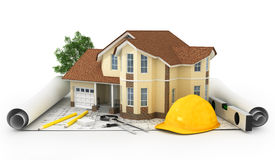 3D rendering of a house with garage on top of blueprints. Isolated Stock Photo
