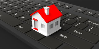 3d rendering house on a keyboard. 3d rendering house on a black keyboard Stock Image