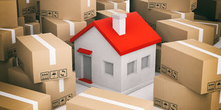 3d rendering house on moving boxes. 3d rendering house on closed moving boxes Royalty Free Stock Photos
