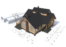 3D rendering of a house project. On top of blueprints Stock Photos