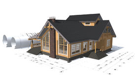 3D rendering of a house project. On top of blueprints Royalty Free Stock Photo