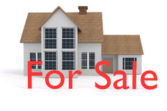 3D rendering of a house with for sale sign Stock Photography