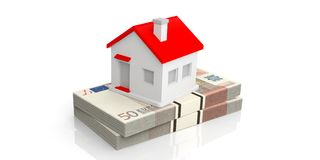 3d rendering house on a stack of 50 euro banknotes Royalty Free Stock Images