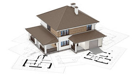 3D rendering of a house on top of blueprints. A conceptual image of a modern cottage, three-dimensional models and drawings Royalty Free Stock Photography