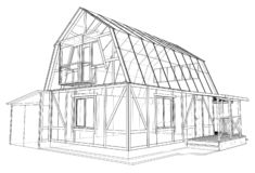 3D rendering of house wireframe structure royalty free stock photos