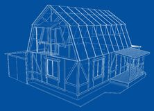 3D rendering of house wireframe structure royalty free stock photo