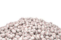 3d rendering of a huge heap of white baseballs with red stitching on a white background.