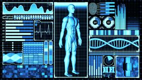 3D Rendering Human Body and DNA double helix Scan Analysis Abstract Medical Futuristic HUD Display Screen interface