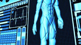 3D Rendering Human Body and DNA double helix Scan Analysis Abstract Medical Futuristic HUD Screen interface camera panning