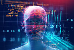 3d rendering of human  on geometric element technology backgroun. D  represent artificial intelligence and cyber space concept Stock Photos