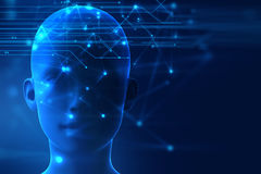 3d rendering of human  on geometric element technology background Stock Images