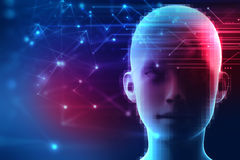 3d rendering of human  on geometric element technology background Royalty Free Stock Image