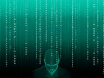 3D rendering of Human head with binary code. 3D rendering of Human head on a background with binary code Stock Photography
