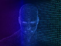 3D rendering of Human head with binary code Royalty Free Stock Images