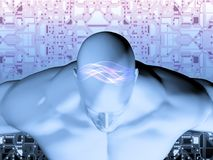 3D rendering of Human head with circuit. 3D rendering of Human head on a background with circuit Royalty Free Stock Image