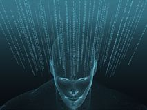 3D rendering of Human head with binary code Stock Image