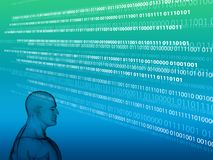 3D rendering of Human head with binary code. 3D rendering of Human head on a background with binary code Stock Photo