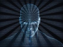 3D rendering of Human head with binary code Royalty Free Stock Photography