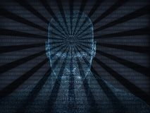 3D rendering of Human head with binary code. And electric waves Stock Images