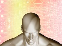 3D rendering of Human head and futuristic elements circuit Stock Photos