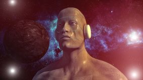 Humanoid head and space Stock Images