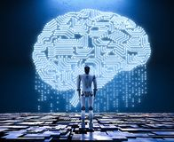 Robot with circuit brain. 3d rendering humanoid robot with ai circuit brain Stock Photo