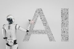 Robot with ai. 3d rendering humanoid robot with ai text in ciucuit pattern Stock Photos