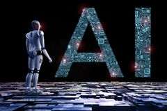 Robot with ai. 3d rendering humanoid robot with ai text in ciucuit pattern Stock Photography