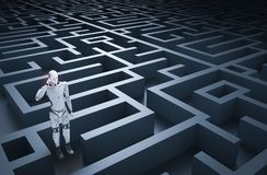 Robot in maze. 3d rendering humanoid robot analysisi in maze Royalty Free Stock Photo